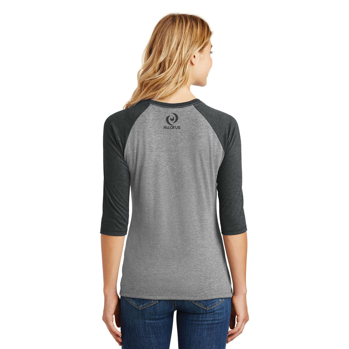 Womens All of Us Black Frost/Grey Frost Tri-Blend 3/4-Sleeve Raglan T-shirt
