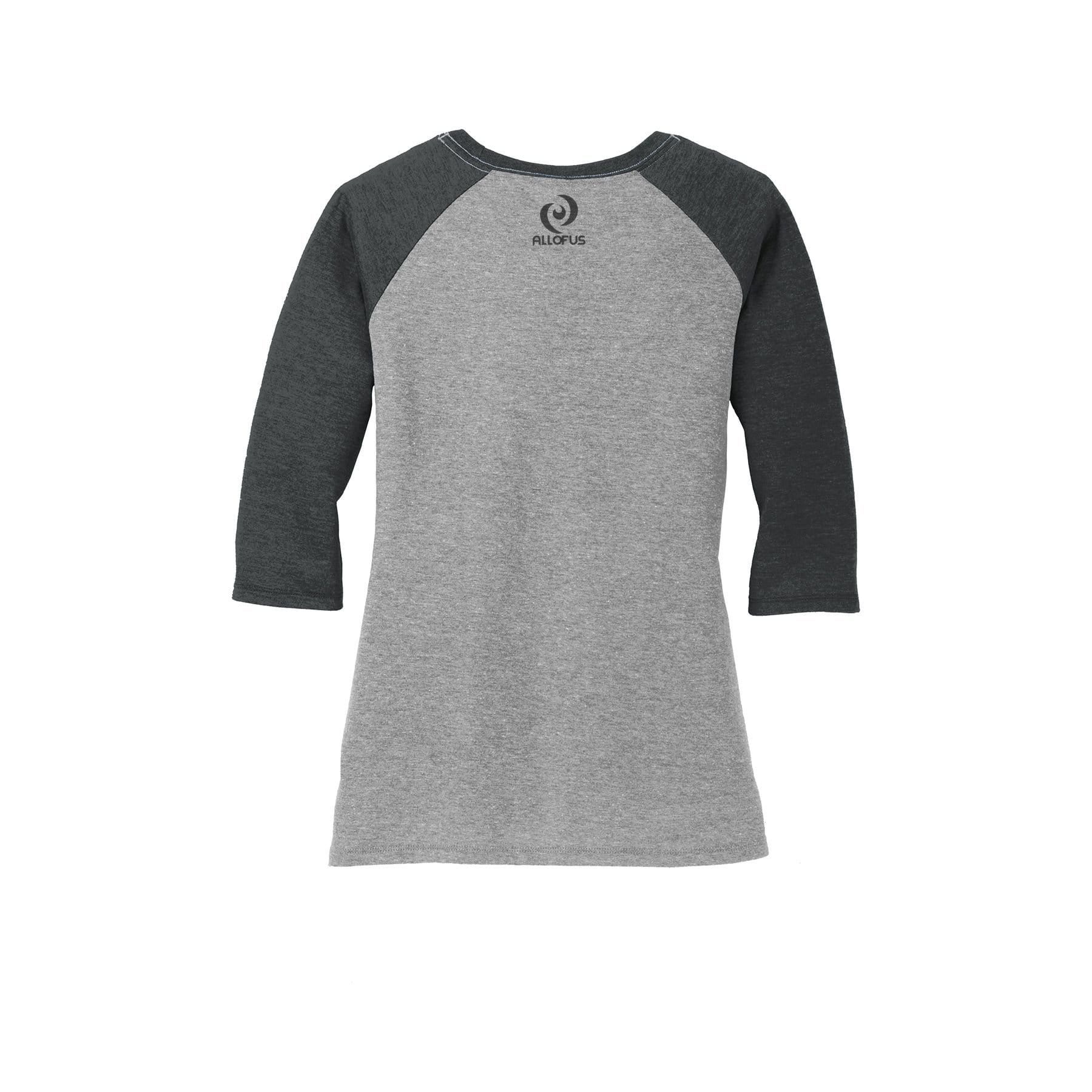 ac6aa699d Womens All of Us Black Frost/Grey Frost Tri-Blend 3/4-Sleeve Raglan T-shirt