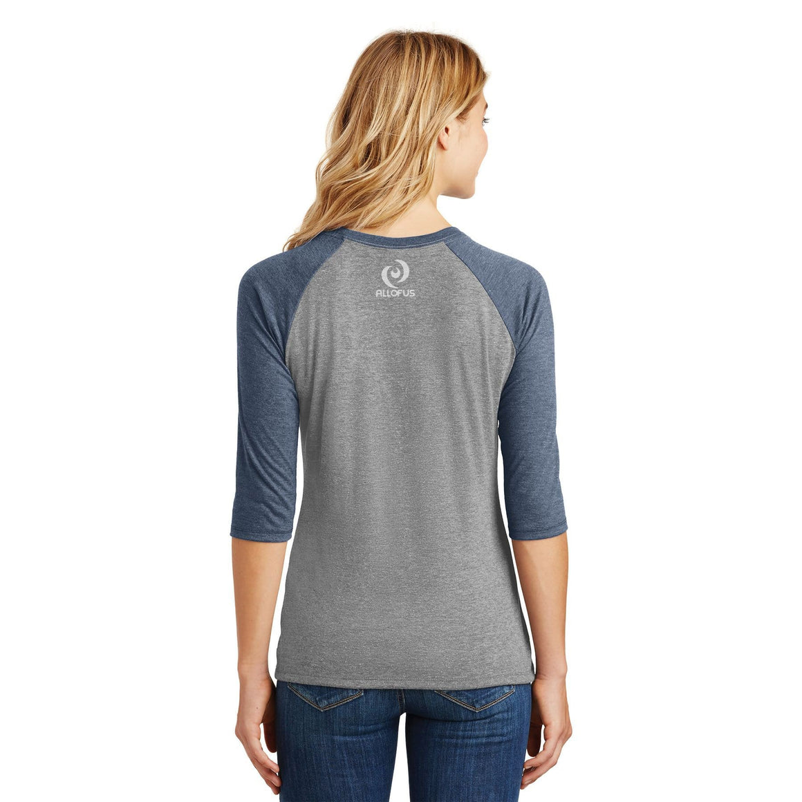 Womens Human.Kind. Navy Frost/Grey Frost Tri-Blend 3/4-Sleeve Raglan T-shirt