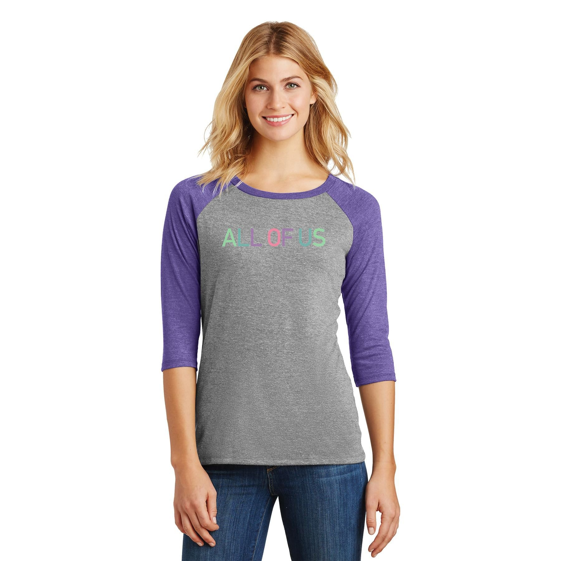 c4594dd22f7 Womens All of Us Purple Frost/Grey Frost Tri-Blend 3/4-