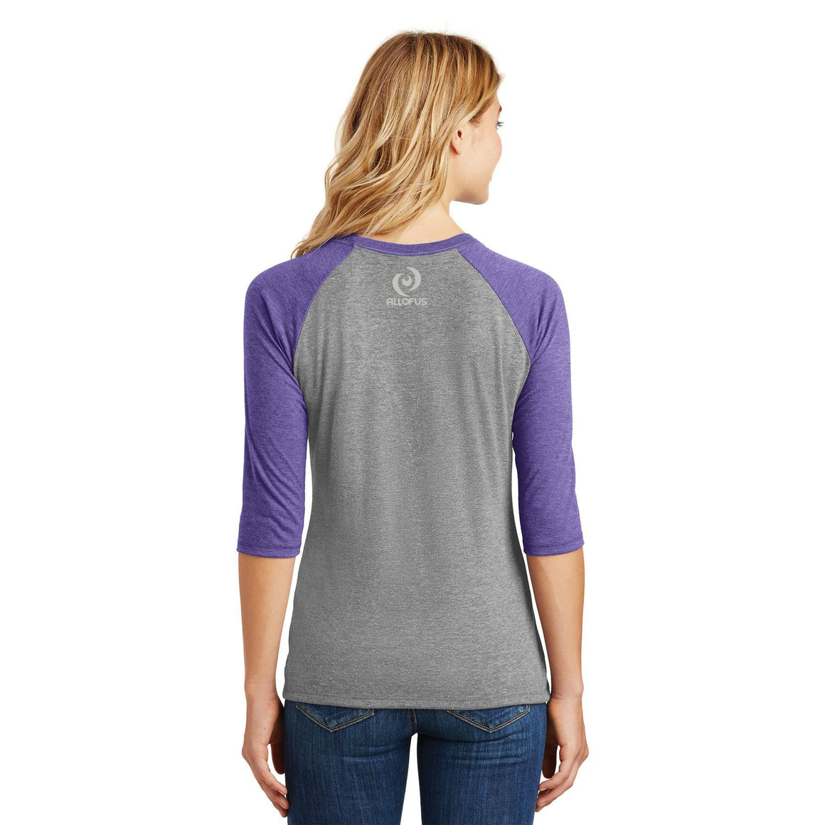Womens All of Us Purple Frost/Grey Frost Tri-Blend 3/4-Sleeve Raglan T-shirt