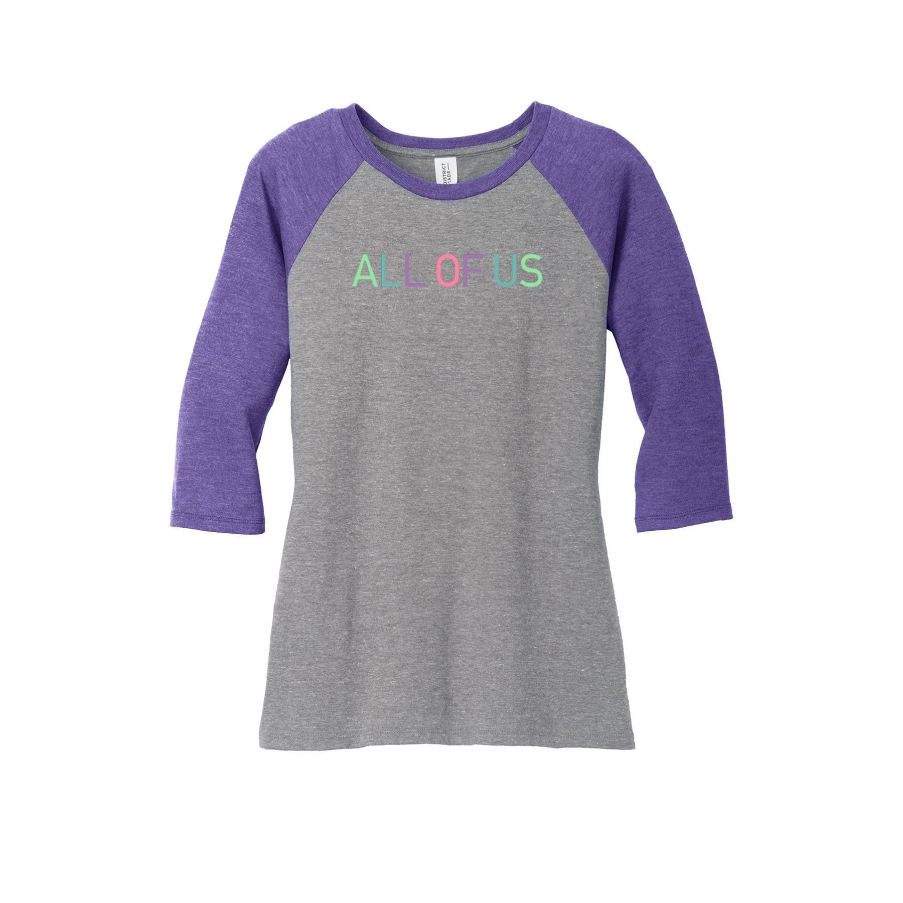 70a2a1ec33a Womens All of Us Purple Frost/Grey Frost Tri-Blend 3/4-Sleeve Raglan T-shirt