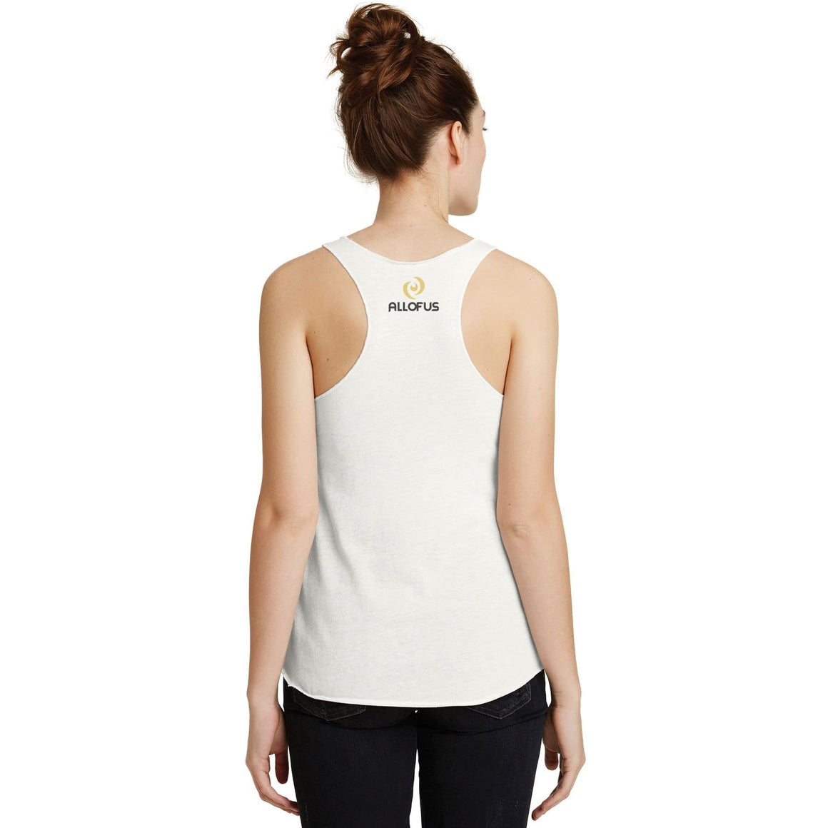 Womens All of Us Eco Ivory Tri-Blend Racerback Tank Top
