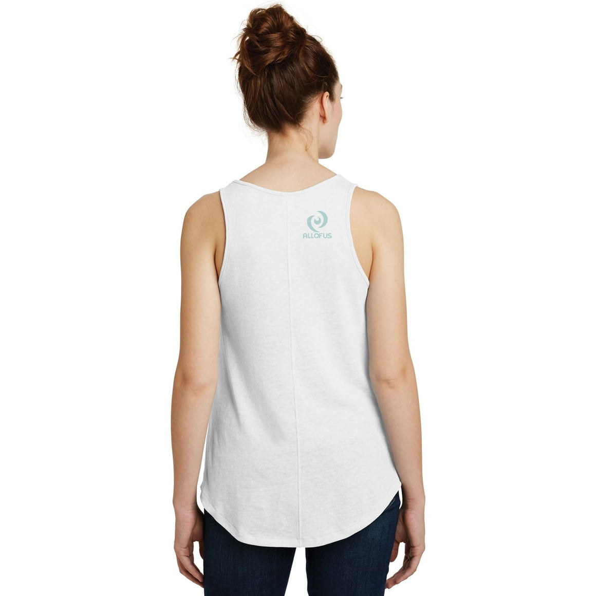 Womens All of Us White 50/50 cotton/poly Vintage Tank Top