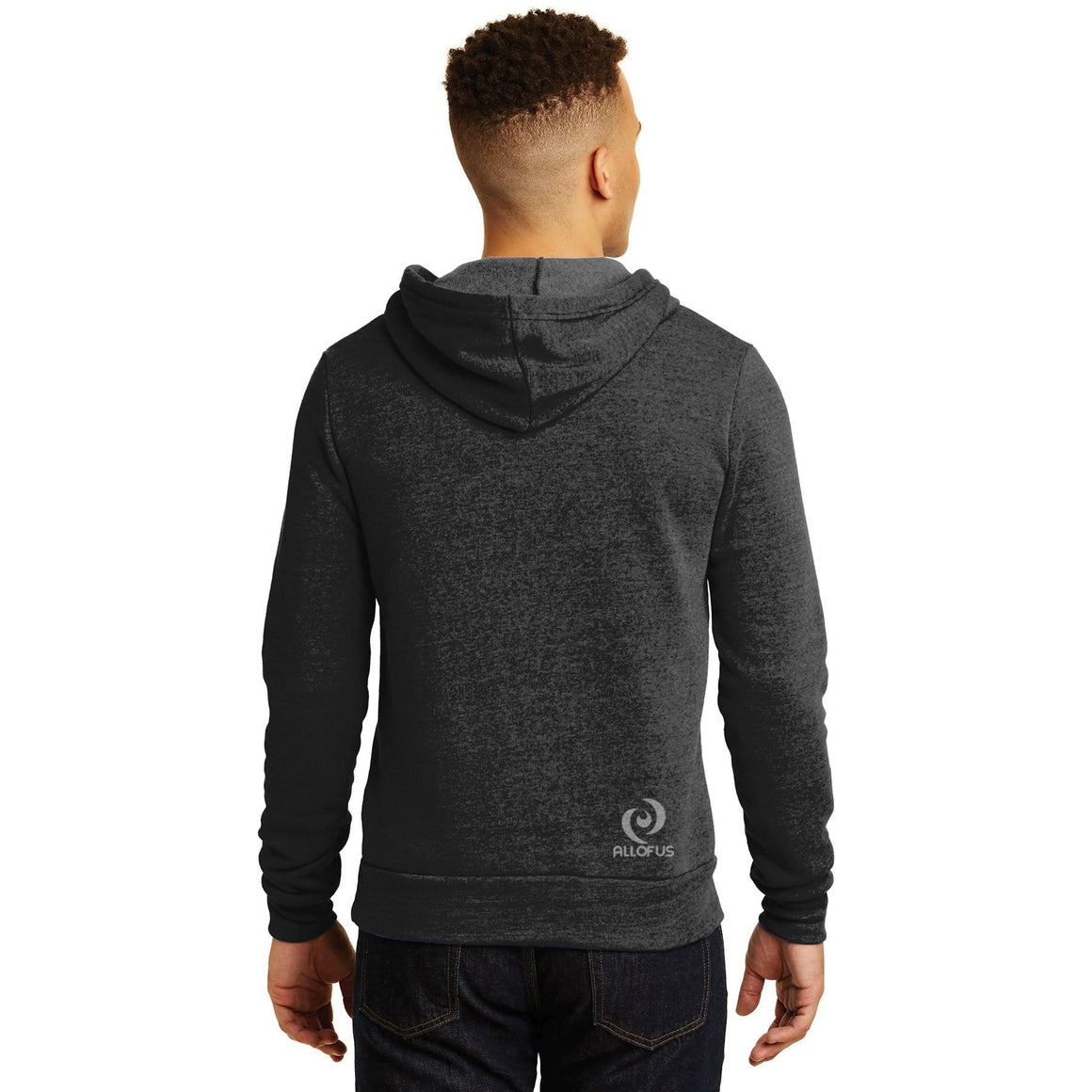 Mens All of Us Eco Black Fleece Pullover Hoodie