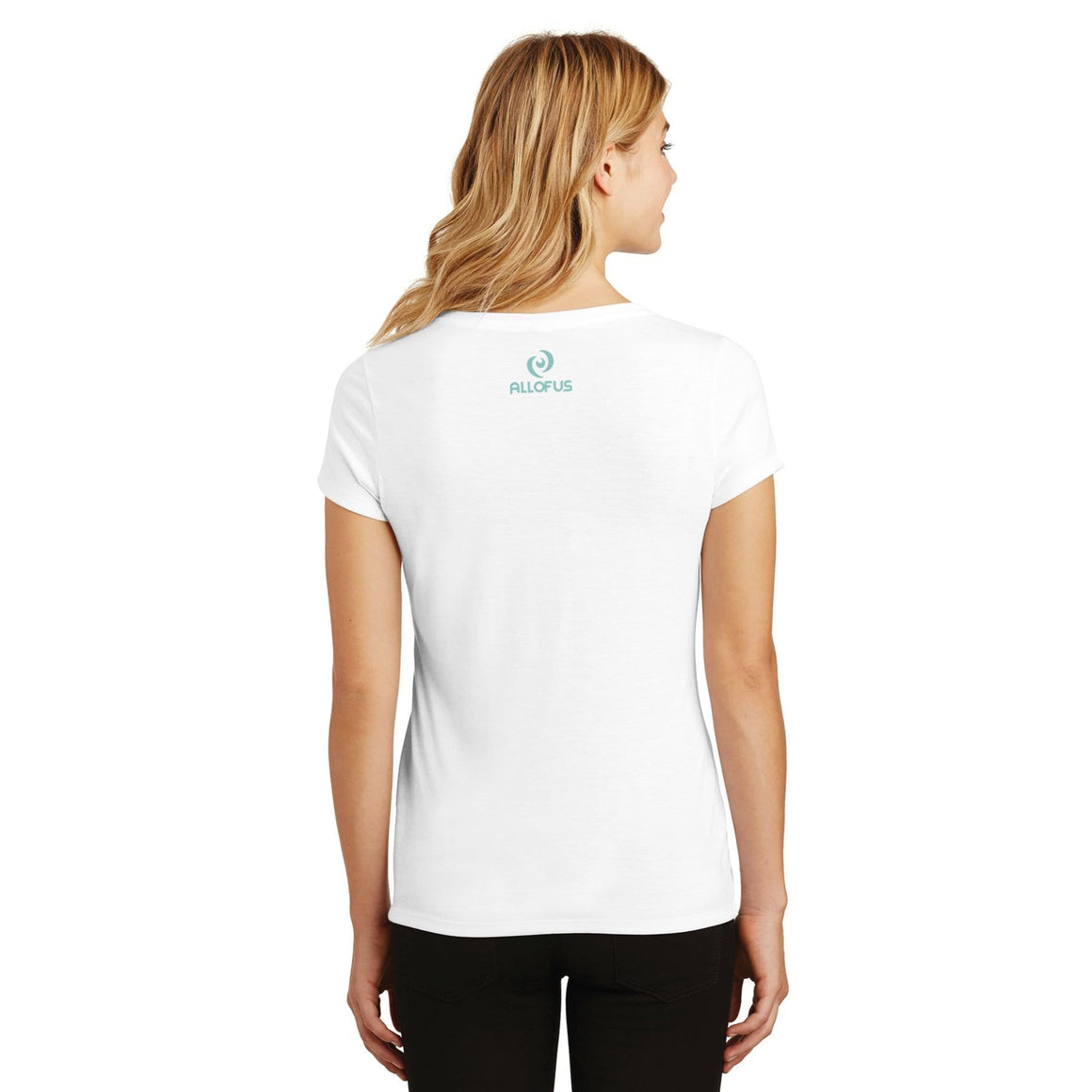 Womens All of Us White Tri-Blend V-Neck T-shirt