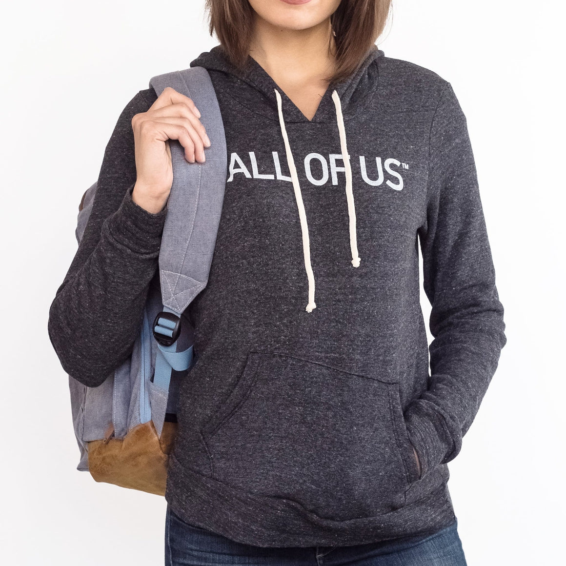 Women's All of Us™ Eco Black Hoodie with White Logo Print