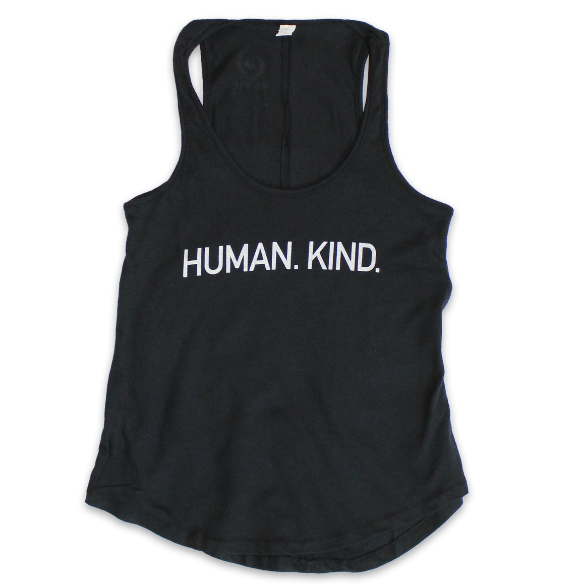 Women's Black Tank with White Human.Kind.