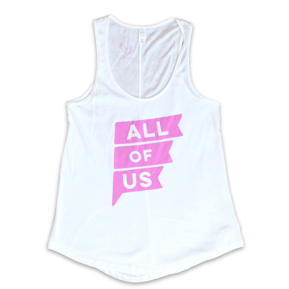 Women's white tank with Orchid Pink All of Us Flag logo