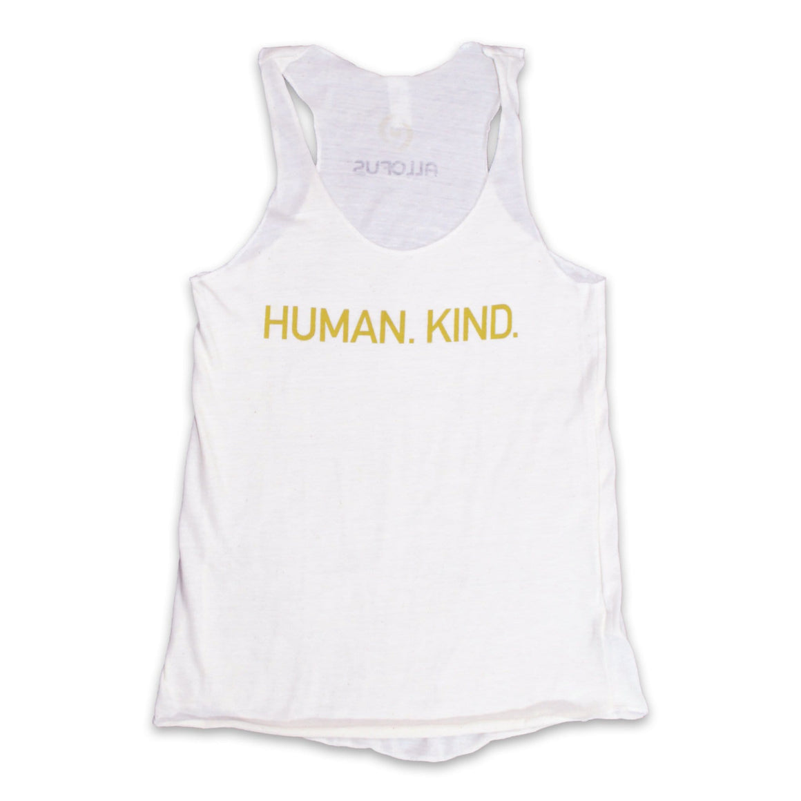 Women's Eco Ivory tank with Human.Kind in soft gold