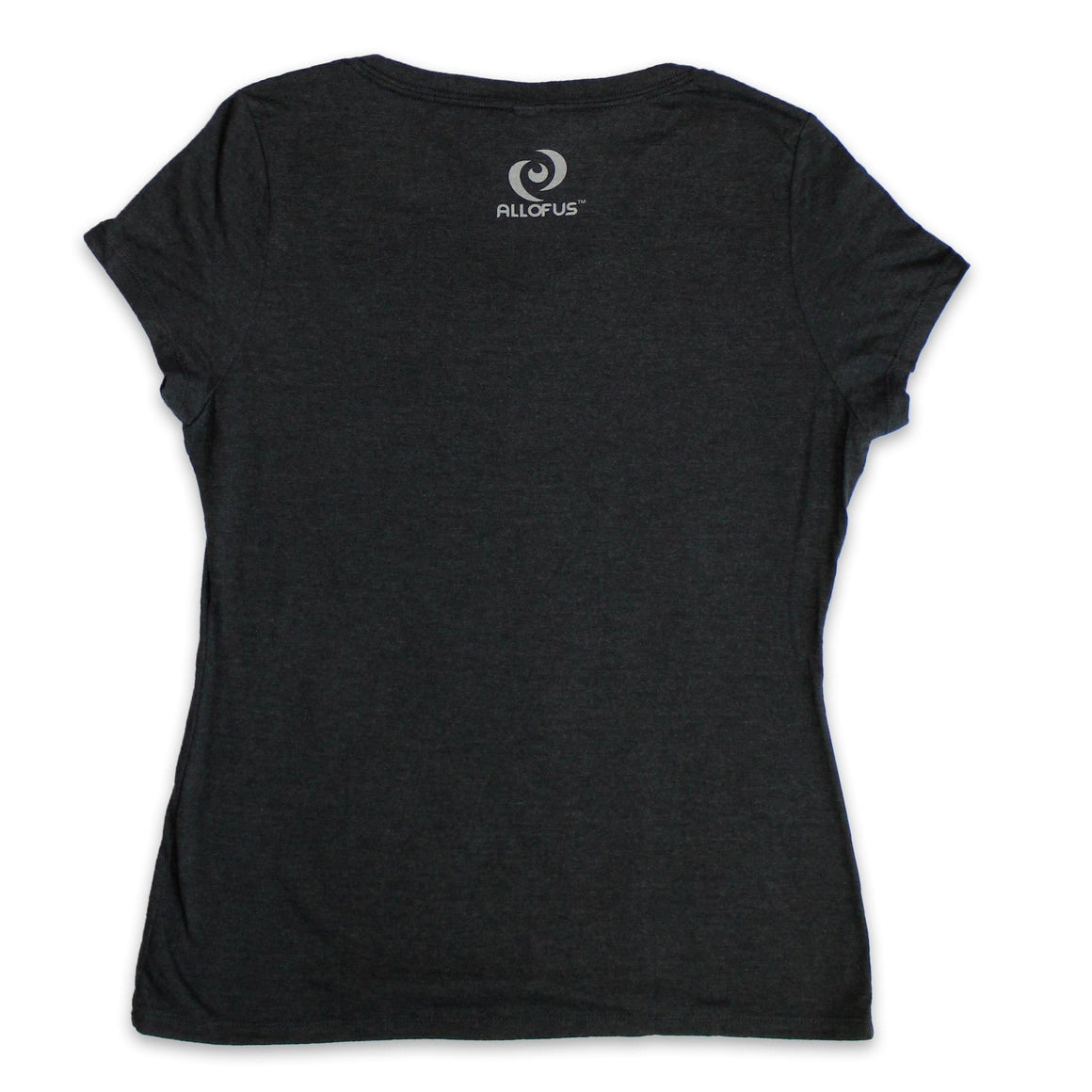 Women's Classic Black Frost V-Neck Tee with White All of Us print