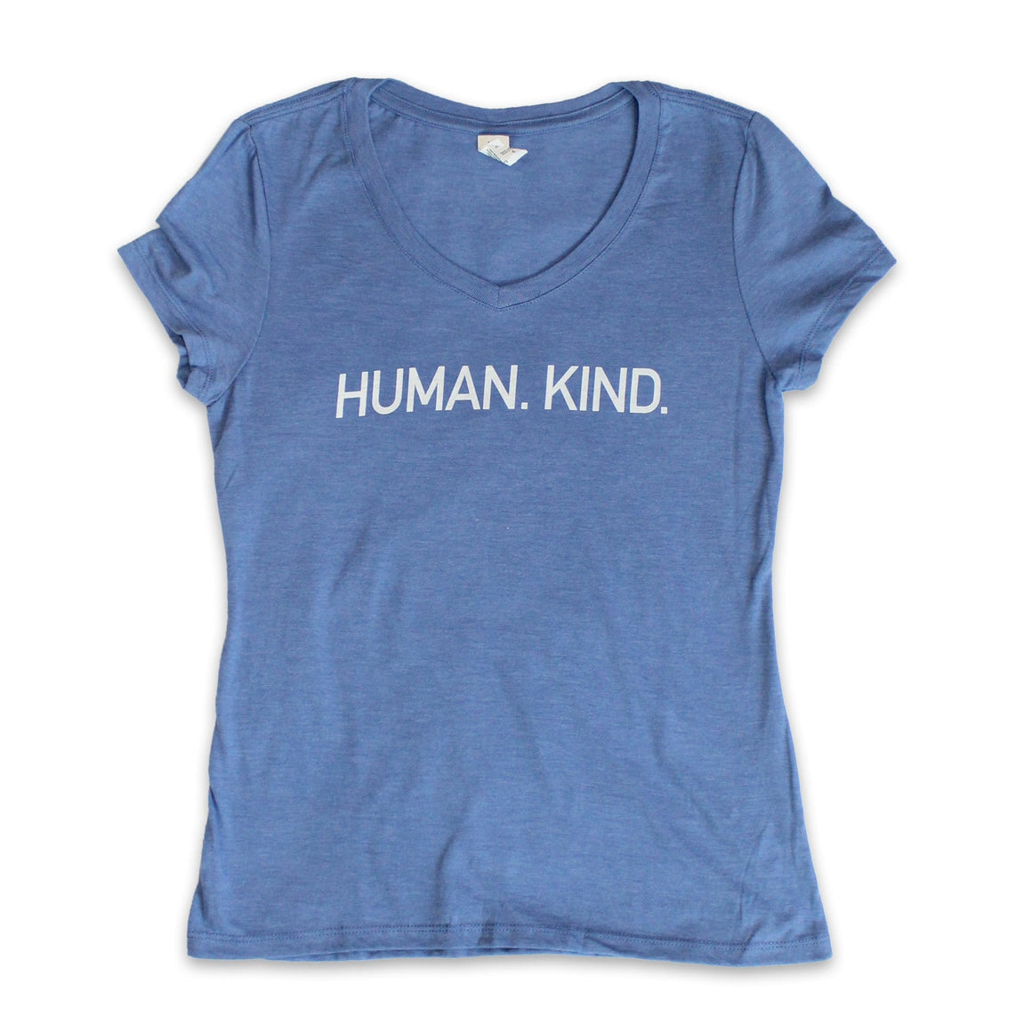 Women's Light Blue V-Neck Tee with White Human.Kind. Print