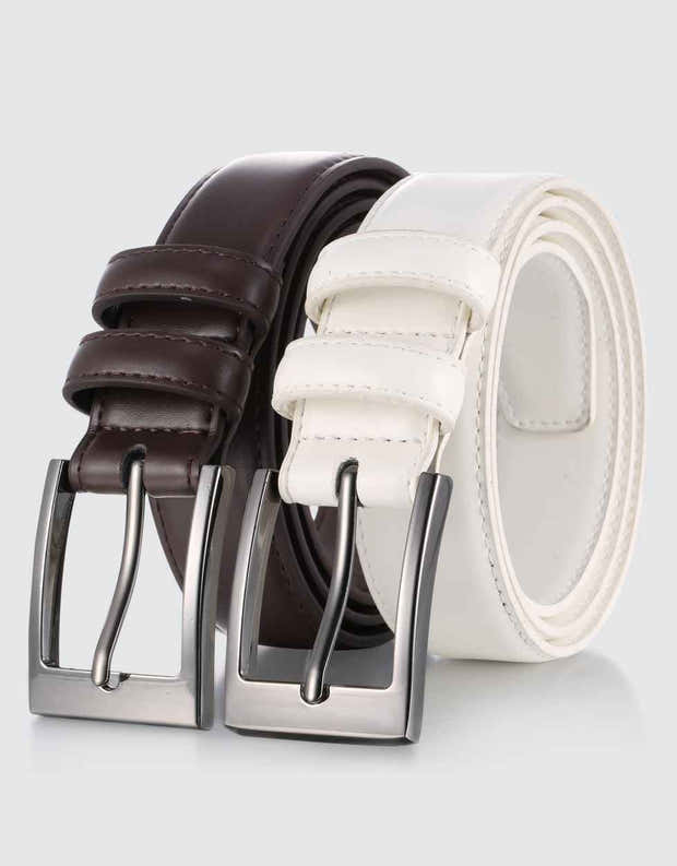 Dual Ring Leather Classic Prong Belt 1