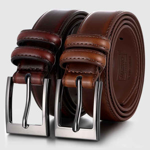Dual Ring Leather Classic Prong Belt