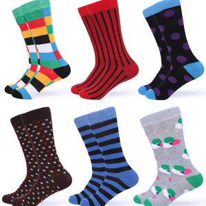 Fun Colorful Dress Socks 6 Pack