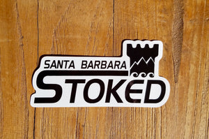 Santa Barbara Stoked Script With Logo Sticker