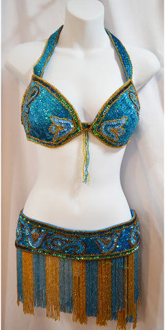 Turquoise and gold sequin lotus bedlah bra and belt set