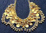 Gold Coin Mesh Necklace with Loops of Bells