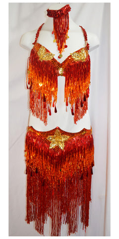 Red, Orange and Gold Beaded Belly Dance Costume Bedlah Set with Heavy Beaded Fringe