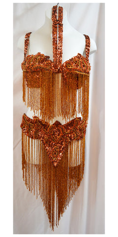 Copper, Bronze and Rust Belly Dance Cabaret Costume Bedlah Set