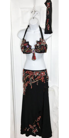 Bellydance Costume Set ~ Black ~ Red, Gold, Silver Beadwork