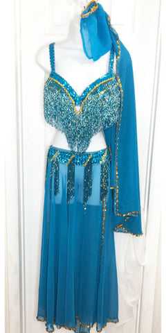 Belly Dance Costume set ~ Turquoise ~ Gold Beaded Fringe