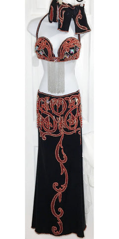 Black shiny with Red, Silver & Rhinestone beaded Peek-A-Boo full costume