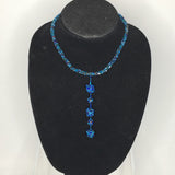 Blue Beaded Necklace with Dangling Balls