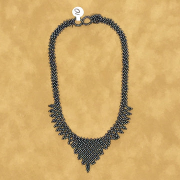 Beaded Necklace ~ Gray Crochet