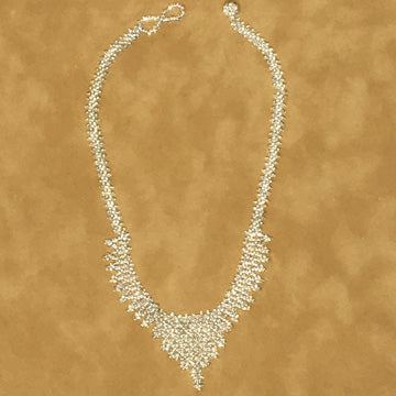 Beaded Necklace ~ White Crochet