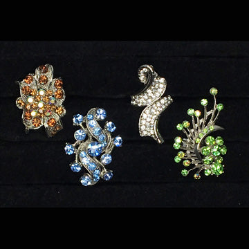 Four Fancy Large Long Bling Rings