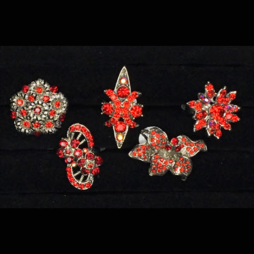Five Fancy Red Bling Rings
