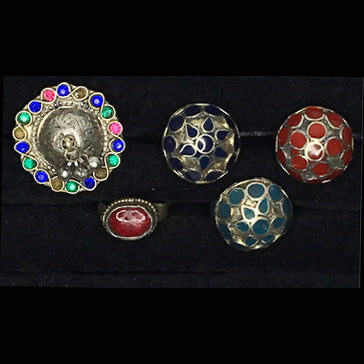 Five Large Tribal Style Decorative Metal Rings