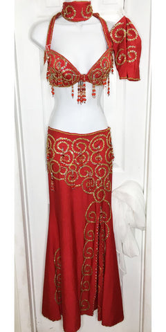 Belly Dance Costume Set ~ Red with Gold Swirls