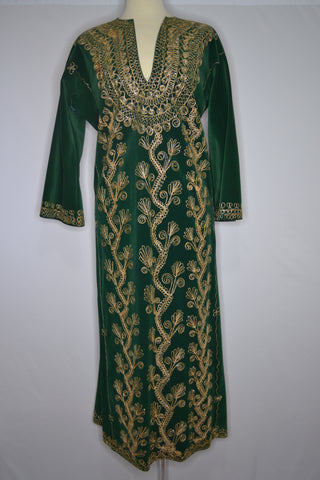 Green Velvet Cover Up with Ornate Decorative Gold Embroidery
