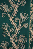 Green Velvet Cover Up with Ornate Decorative Gold Embroidery Close Up