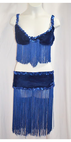 Blue Velvet Bedlah Bra & Belt Set - Hand Sewn Original