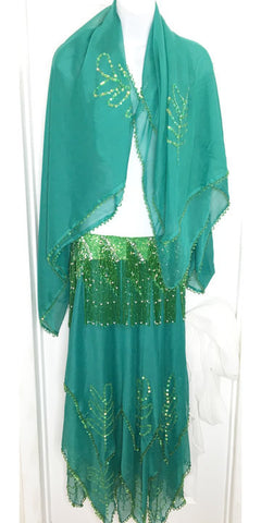 Teal Chiffon Skirt & Veil ~ Green Beaded ~ Includes DIY Bra Parts
