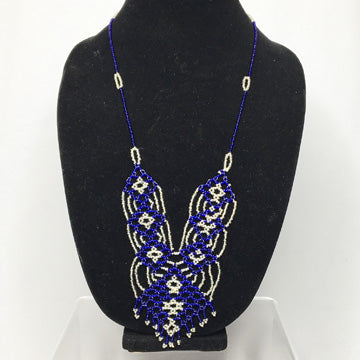 Blue and White Patterned Design Necklace