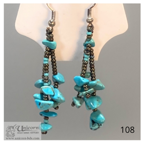 Earrings turquoise bronze dangles