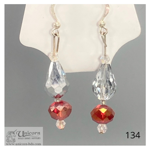 Earrings clear drops with orange copper rounds
