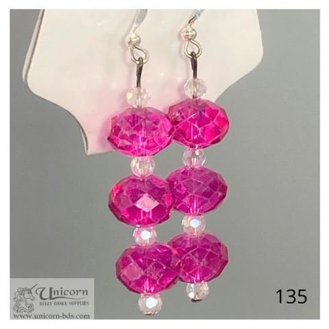 Earrings three pink rounds