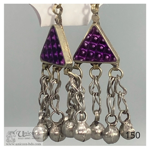 Earrings purple triangle