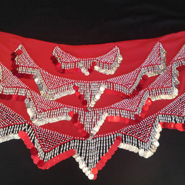 Red & Silver Fancy Beaded Coin Hip Wrap