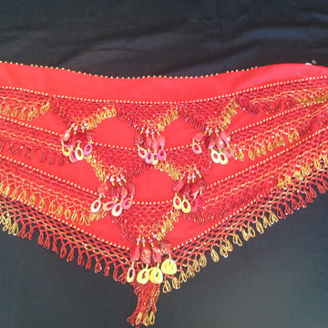 Red Chiffon Belly Dance Hip Wrap