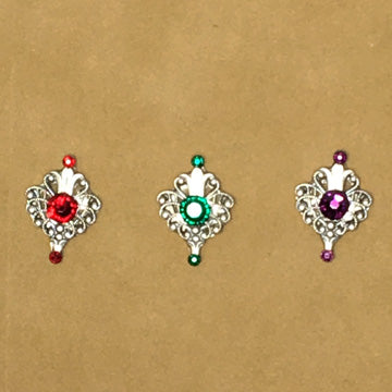 Bindis ~ Small Floral Design ~3 Swarovski Crystals