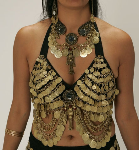Gold Belly Dance Bra with Coins, Mirrors & Beads ~ Black Fabric Base
