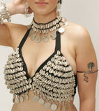 Cowry Shell Bra with Antique finish Coins