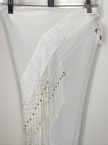 Fringe Hip Wrap ~ white embroidered