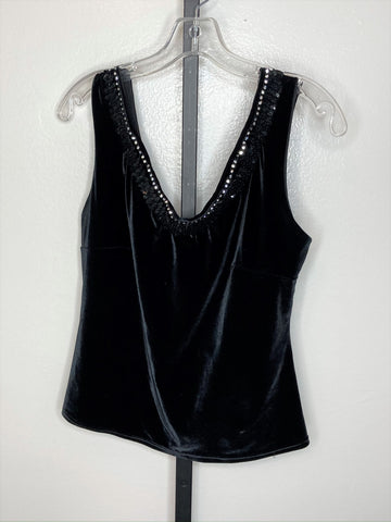 Top ~ black velvet sequin/ rhinestone tank